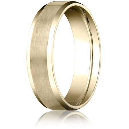 14k Yellow Gold 6mm Comfort Fit Beveled Band with Satin Finish