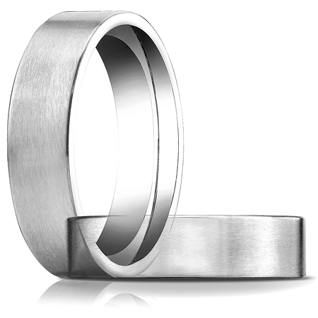 6mm Satin Flat Comfort Fit Band - 14k White Gold