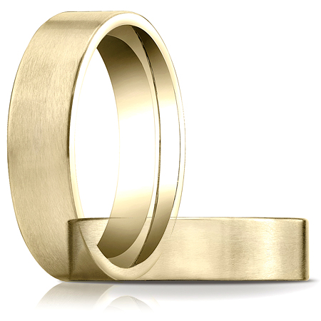 6mm Satin Flat Comfort Fit Band - 14k Yellow Gold