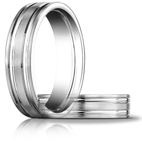 Platinum 6mm Satin Wedding Band with Ridges