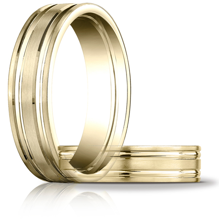 14kt Yellow Gold 6mm Satin Band with Ridges
