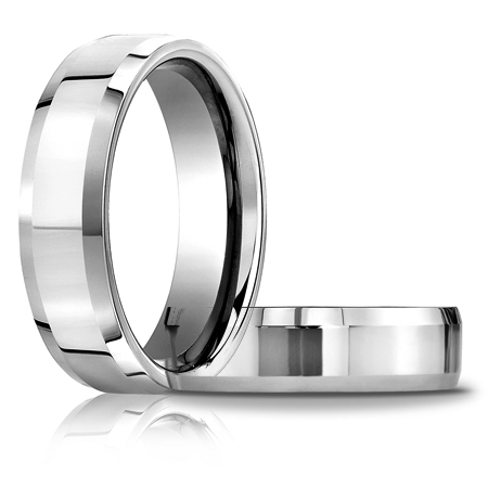 6mm Comfort Fit Beveled Band - 14k White Gold
