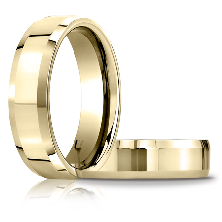14k Yellow Gold 6mm Comfort Fit Beveled Wedding Band