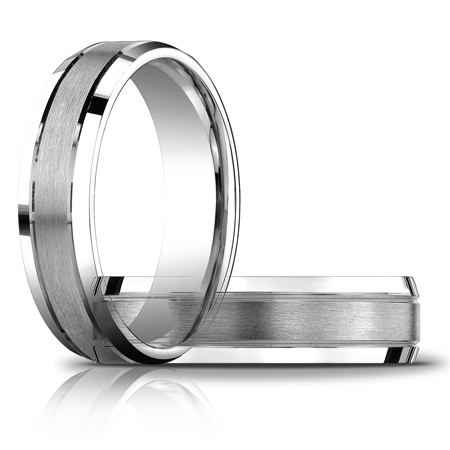 14kt White Gold 6mm Satin Wedding Band with Beveled Edges
