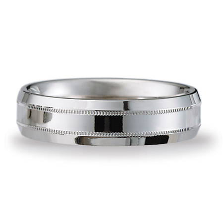 6mm Platinum Milgrain Band with Beveled Edges