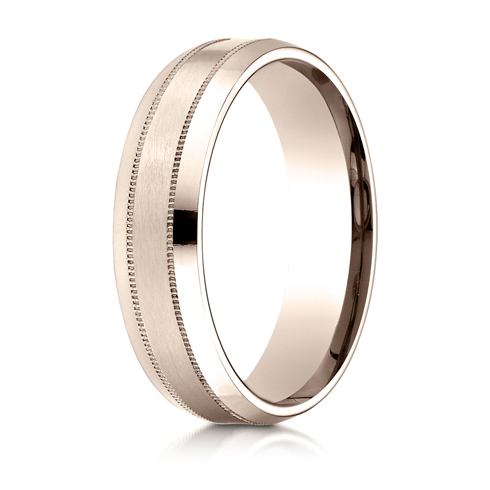 6mm 14kt Rose Gold Milgrain Band with Satin Center