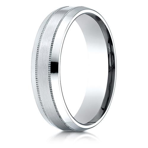 Platinum 6mm Milgrain Wedding Band with Satin Center