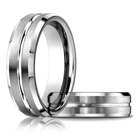 Platinum 6mm Wedding Band with Grooved Center
