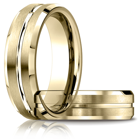 6mm Satin Band with Beveled Edges - 14k Yellow Gold
