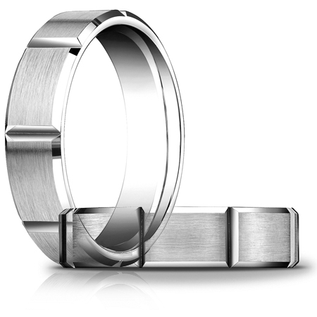 Platinum 6mm Satin Wedding Band with Panels