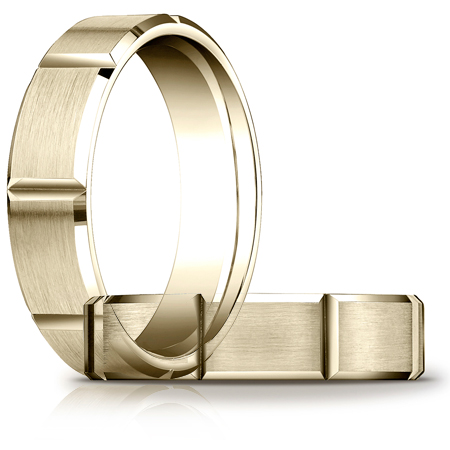 14kt Yellow Gold 6mm Satin Band with Panels