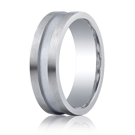 Argentium Silver 7mm Satin Wedding Band with Channel