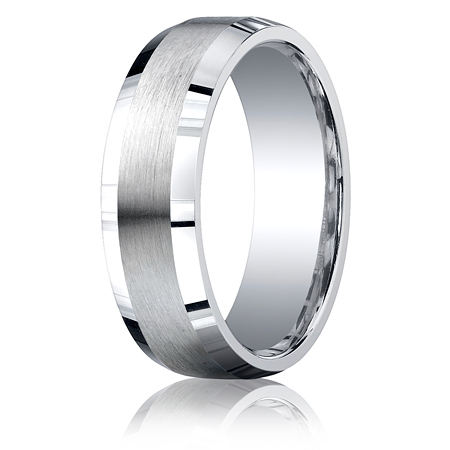 Argentium Silver 7mm Comfort-Fit Satin Beveled Edge Band