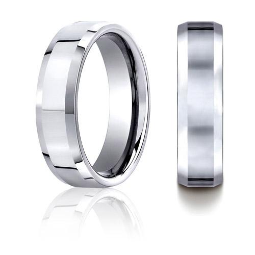 Cobalt Chrome 7mm Polished Wedding Band with Beveled Edges