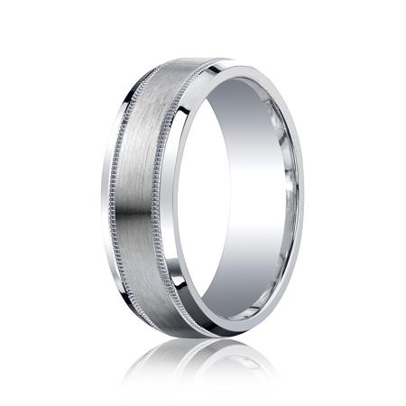 Argentium Silver 7mm Milgrain Wedding Band with Satin Finish