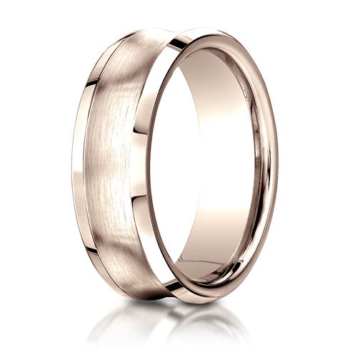 7.5mm 14kt Rose Gold Concave Band with Satin Center