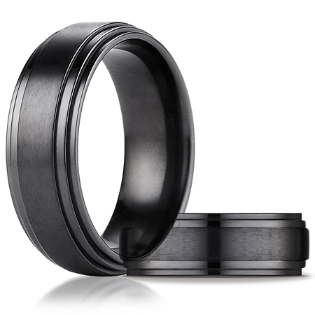 Black Titanium 8mm Comfort-Fit Satin Double Edge Design Ring
