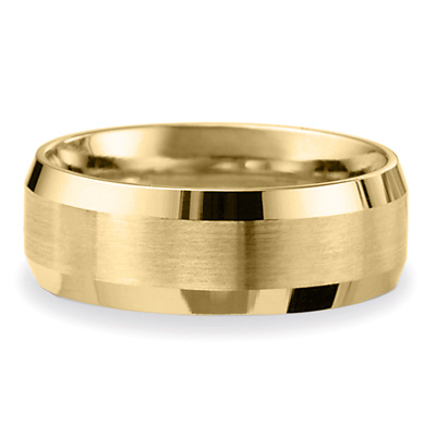14k Yellow Gold 8mm Comfort Fit Beveled Wedding Band with Satin Finish