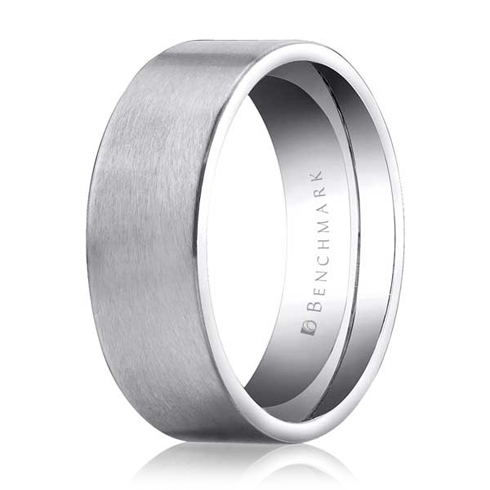8mm 14kt White Gold Flat Wedding Band with Satin Finish