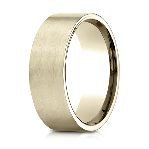 8mm 14kt Yellow Gold Flat Wedding Band with Satin Finish