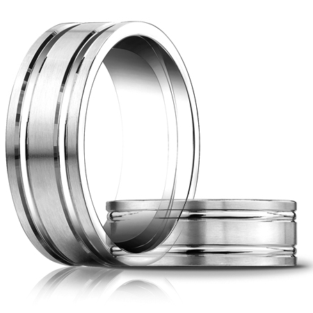 14kt White Gold 8mm Satin Wedding Band with Ridges