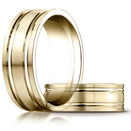 14kt Yellow Gold 8mm Satin Wedding Band with Ridges