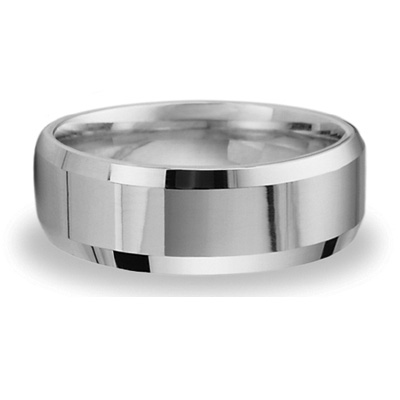 8mm Beveled Band - 14k White Gold