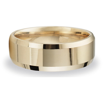 14k Yellow Gold 8mm Beveled Wedding Band