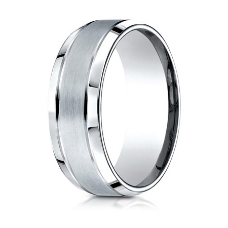 Platinum 8mm Satin Wedding Band with Beveled Edges