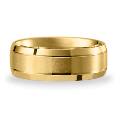 14kt Yellow Gold 8mm Satin Band with Beveled Edges