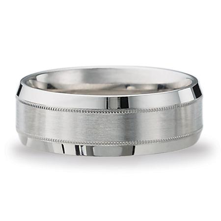 Platinum Milgrain Wedding Band with Satin Center 8mm