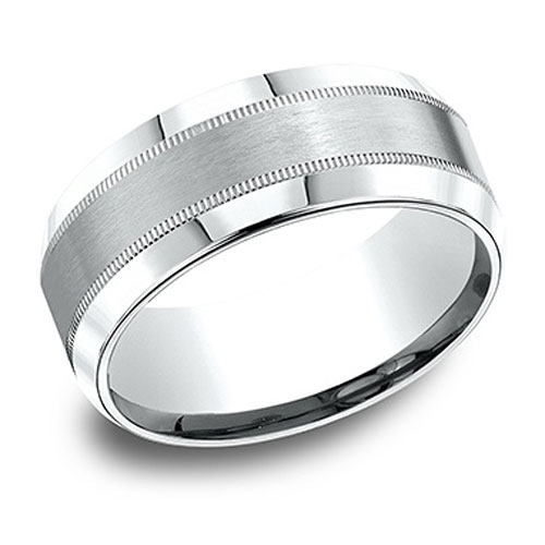 Platinum Milgrain Wedding Band with Satin Center 8mm