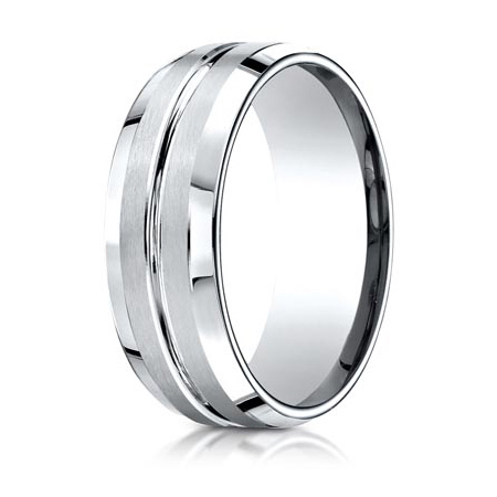 Platinum 8mm Wedding Band with Grooved Center