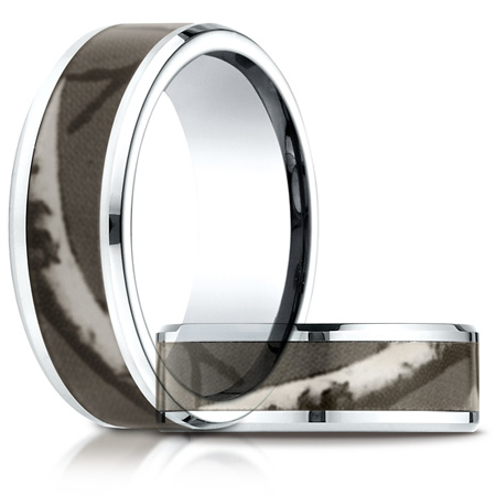 8mm Cobalt Comfort Fit Ring with Camo Inlay