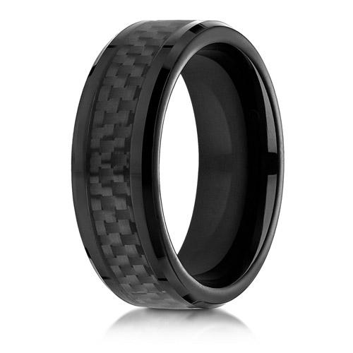 8mm Black Cobalt Chrome Ring with Carbon Fiber