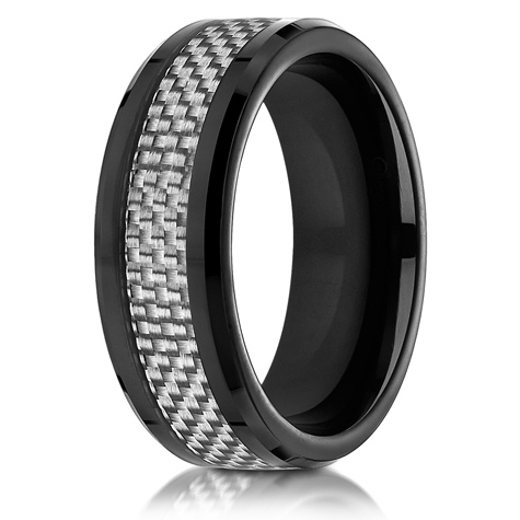 8mm Black Cobalt Chrome Ring with Gray Carbon Fiber