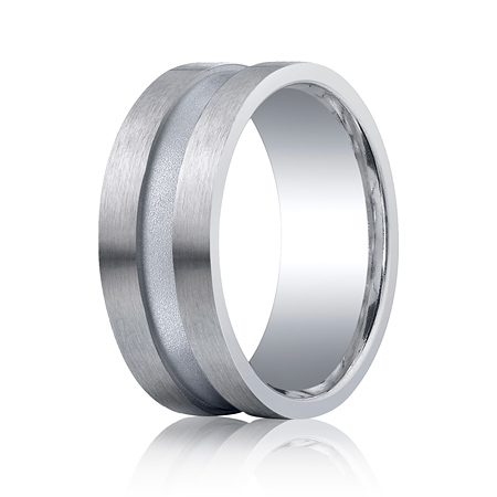 Argentium Silver 9mm Satin Wedding Band with Channel