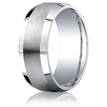 Argentium Silver 9mm Comfort-Fit Satin Beveled Edge Band