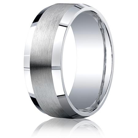 Argentium Silver 9mm Comfort-Fit Satin Beveled Edge Band