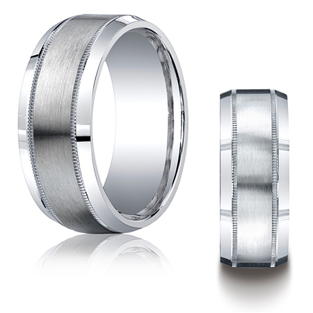 Argentium Silver 9mm Milgrain Wedding Band with Satin Finish