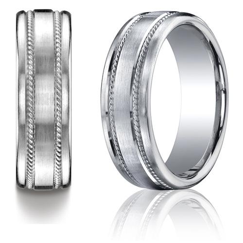 Platinum 7.5mm Satin Wedding Band with Rope Design
