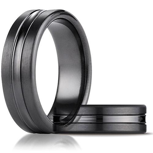 Black Titanium 7.5mm Comfort-Fit Satin-Finished High Polished Center Cut Carved Band
