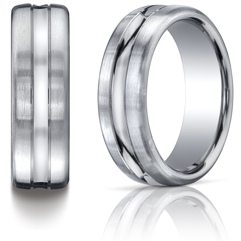 Platinum 7.5mm Satin Wedding Band with Center Cut