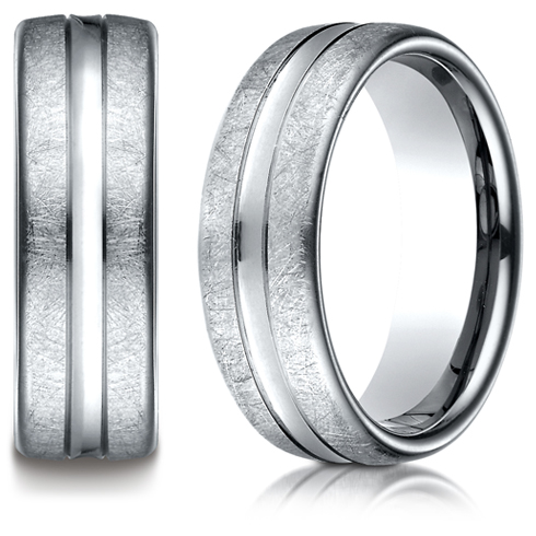 Platinum 7.5mm Swirled Finish Wedding Band with Convex Cut