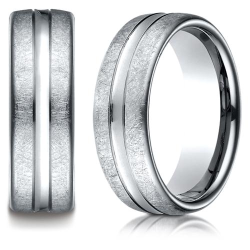 14kt White Gold 7.5mm Swirled Wedding Band Convex Center
