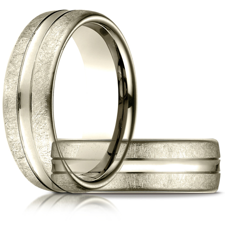7.5mm Swirled Finish Wedding Band with Convex Center - 18kt Yellow Gold