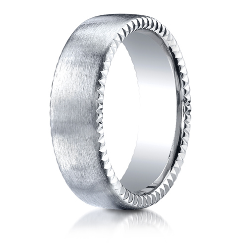 7.5mm 14kt White Gold Wedding Band with Rivet Coin Edges