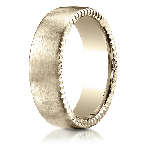 7.5mm 14kt Yellow Gold Wedding Band with Rivet Coin Edges