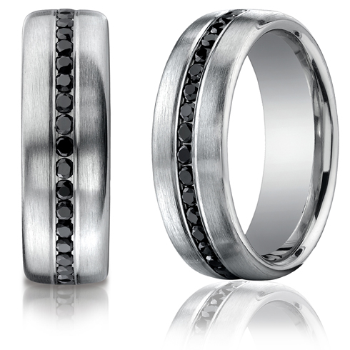 2/5 CT Black Diamond Platinum Band 7.5mm