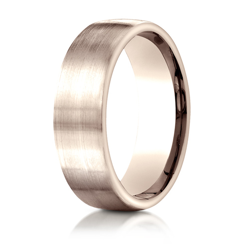 14kt Rose Gold 7.5mm Wedding Band with Satin Finish
